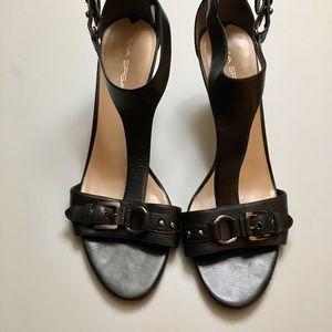 "Via Spiga Black Leather 3.5"" Heeled Sandals Sz 11M"